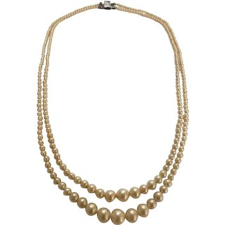 Vintage sterling clasp double strand faux pearl necklace