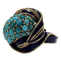 Vintage 18k gold Persian turquoise navy enamel ring
