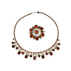 Weiss orange brooch and matching necklace