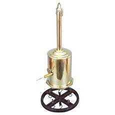 Antique Brass Bottle Jack Spit Jack Clockwork Roasting Spit With Key & Meat Hanger