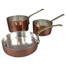 Copper Pan Trio 2x Sauce Pans 1x Saute