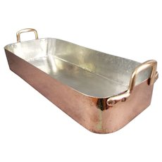 Antique Copper Bain Mari Bath Pan Roasting Pan