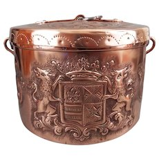 RESERVED>>>19th C Stunning fleur de lis copper Stockpot Calderon With Armorial
