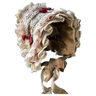 "Vintage Silk Doll Bonnet Hat 7.5"" circumference Cotton Lace"
