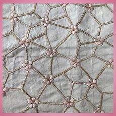 Eau de nil hand embroidered silk faille c1890