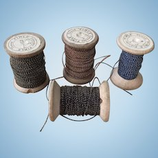 Rare 4 Large spools Victorian embroidery couching thread