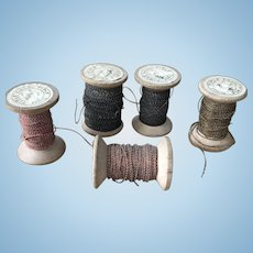 5 reels Victorian embroidery couching threads.