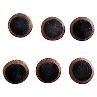 6 wonderful antique buttons Brown silk black velvet