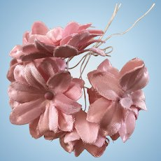 Vintage millinery flowers for antique doll hats - pink