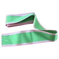 Wonderful green and pink satin ribbon