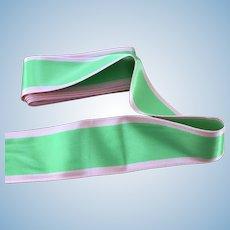 Wonderful green and pink satin ribbon