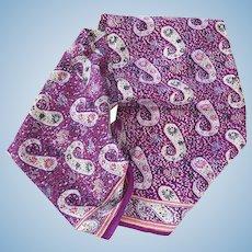 Hand block printed Indian Paisley silk