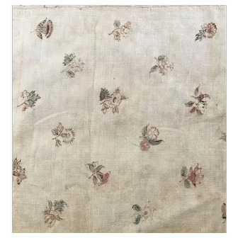 1880's Dark cream flower print cotton fabric
