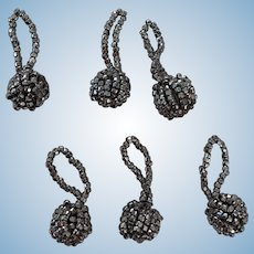 6 Rare and Wonderful Victorian cut steel beaded bobble trims