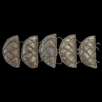 5 Antique silver and gold thread appliqué trims