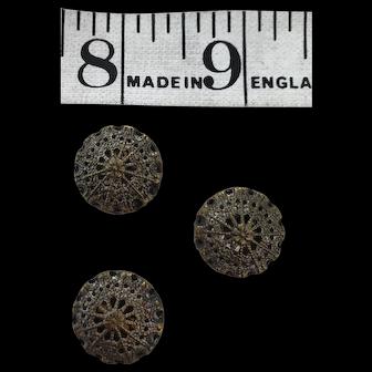 3 Mirror backed antique brass filigree buttons Czechoslovakian