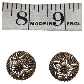 2 Gold painted domed filigree antique buttons