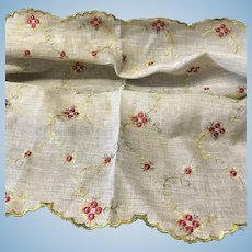 Vintage embroidered linen for doll dress