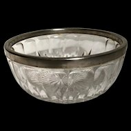 Vintage Crystal Fruit Bowl with Silver Rim