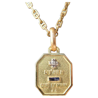Vintage French Charm Pendant / Love Token, Quhier Que Demain, Signed A.Augis, The 60s