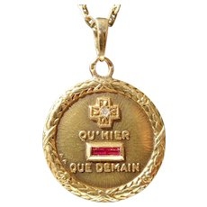 Vintage French Charm Pendant / Love Token, Quhier Que Demain, Signed A.Augis, The 40s
