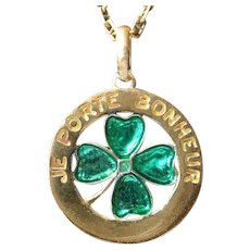 Vintage Clover Charm Pendant Enameled, Lucky, The 90s
