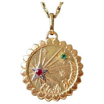 Vintage French Charm Pendant / Love Token, Etoile d'Amour, Signed Etoile d'Amour, The 60s