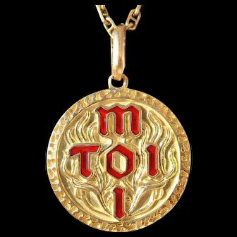 Vintage French ' Toi & Moi ' Enameled Charm Pendant / Love Token, 18K Gold, The 90s