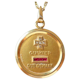 Vintage French Charm Pendant / Love Token, Quhier Que Demain, Signed A.Augis, The 50s