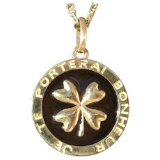 Vintage Clover Charm Pendant Enameled, Lucky Charm, 18K Gold, The 90s