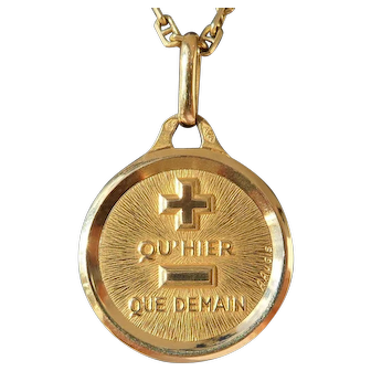 Vintage French Charm Pendant / Love Token, Quhier Que Demain, Signed A.Augis, The 90s