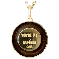 Vintage ' You're my Number One ' Charm Pendant Enameled, Lucky Charm, 18K Gold, The 70s
