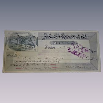 John P. Squire & Co. Cancelled Check 1883