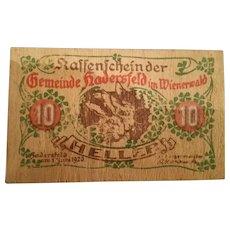 Austrian 1920 Wooden Notgeld 10 Heller