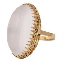 Vintage French 18 Karat Gold and Moonstone Ring