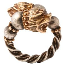 Vintage Double Headed Lion Ring
