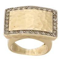 Modernist Hand Hammered Gold and Diamond Ring