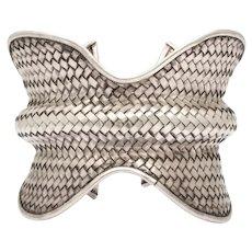 Modernist Sterling Silver Weave Cuff