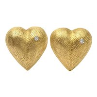 Tiffany and Co. Heart Form Stippled 18 Karat Gold and Diamond Clip Earrings