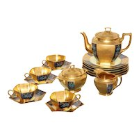 Ovington's Gold Lustre and Floral Decorated Tea Set