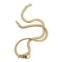 Classic Gold Snake Necklace with Diamonds Rubies and Pearl