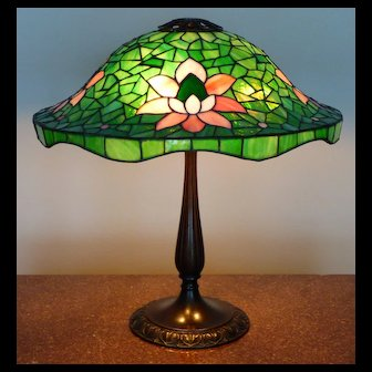 Antique Suess Leaded Glass Table Lamp