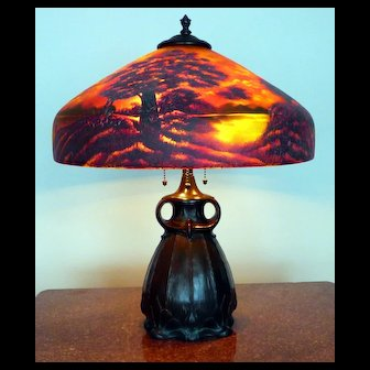 Antique Pittsburgh Reverse Painted Table Lamp