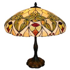 Antique Whaley leaded glass table lamp