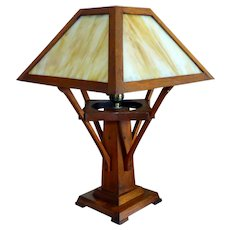 Antique Arts & Crafts Golden Oak Slag Glass Table Lamp