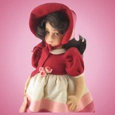 "Lenci 17"" Felt Girl ELENA Italy Certificate Tag # 993274 Red Dress Bonnet"