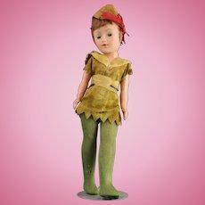 Vintage PETER PAN Hard Plastic Posable Doll w/ Original Felt Costume