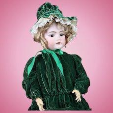 SIMON HALBIG #1079 Vintage Bisque & Composition Doll in Green Velvet Dress with Bonnet