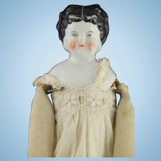 Hertwig German Glazed Porcelain China Doll with Cloth Body