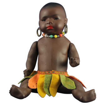 African Antique Heubach Koppeldorf African Doll with Straw hat